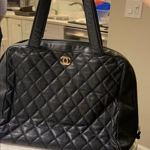 Black Chanel quilted bag!
